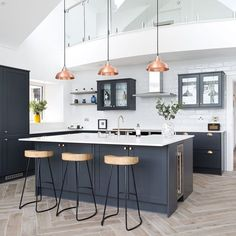 Kitchen Room Design, Kitchen Layout, Home Decor Kitchen, Interior Design Kitchen, Home Kitchens, Kitchen Family Rooms, Contemporary Kitchen Design, Grey Kitchen Designs, Modern Interior Design