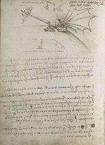 Codex on the Flight of Birds ~ Front page - Leonardo da Vinci  c.1505-1506,