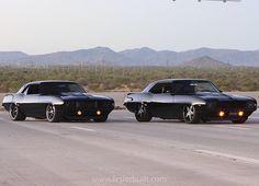 Who doesn't love twins? #fesler #feslerbuilt #feslernation #1969 #chevy #camaro #bagged #custom #badass #bigblock #572 #ls9 #supercharged #carporn #fourwheelporn #hotrod #musclecar #twins
