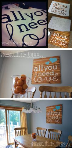 """Use this sign at your wedding - then use as a decoration in your new home together. Free Stencil Pattern and Tutorial to make this cute """"All you need is love"""" Wall Art! Cute Crafts, Crafts To Do, Wood Crafts, Diy Crafts, Arts And Crafts, Love Wall Art, Diy Wall Art, Diy Art, Do It Yourself Quotes"""