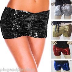 You Pick the Color! Glittering Sparkling Sequin Stretch Hot Pants Shorts Silver/Black/Red/Blue/Gold  Starting @ $12.50