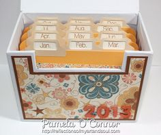Clementine file box with November stamp of the month - Pamela Oconnor