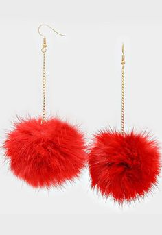 Scream Queens Long Red Fur Earrings Round Shaped Hook Long Dangling Chains #long