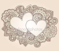 Aftelkalender voor Valentijnsdag Henna harten liefde Doodles Vector — Stockillustratie #8511376
