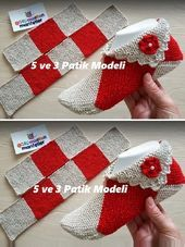 5 ve 3 Diy Crafts Knitting, Loom Knitting, Knitting Socks, Knitting Stitches, Yarn Crafts, Crochet Bows, Crochet Slipper Pattern, Granny Square Crochet Pattern, Crochet Designs