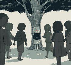 Japanese Illustrator Gives Thought-Provoking Chills With Haunting Artwork Dark Art Illustrations, Illustration Art, Sun Projects, Sad Anime Girl, Vent Art, Dark Pictures, Sad Art, Japanese Artists, Character Art