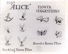 Vintage Disney Alice in Wonderland: Flower Suggestions Model Sheet - Rocking Horse Flies and Bread & Butter Flies - could be tattoos Disney Sketches, Disney Drawings, Drawing Disney, Arte Disney, Disney Art, Disney Ideas, Disney Stuff, Disney Tattoos, Alice In Wonderland Flowers