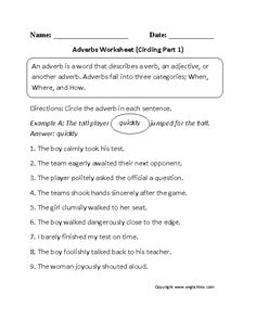Circling Adverbs Worksheet Part 1