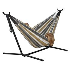 Vivere Viveres Combo - Double Desert Moon Hammock with Stand - - Patio & Garden Antique Furniture, Outdoor Furniture, Outdoor Decor, Wooden Furniture, Double Hammock With Stand, Hammock Accessories, Hammock Swing, Small Patio, Shopping