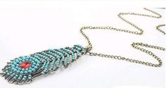 Korean Fashion Peacock Feather Sweater Chain on BuyTrends.com, only price $7.73