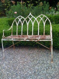 Cool antique iron garden bench