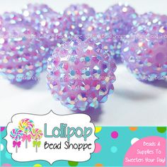 20mm LILAC PURPLE AB Rhinestone Beads Bumpy Beads Sparkly Berry Beads Pave Beads Bling Chunky Beads Resin Round Plastic Bubblegum Beads by Lollipop Bead Shoppe