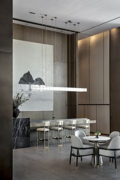 阳光城湖州太湖售楼处 图片版权归璞辉空间设计所有 on Behance Interior Architecture, Interior Design, Sales Office, Sofa Furniture, Asian Style, Restaurant Bar, Dining Room, Lounge, Table