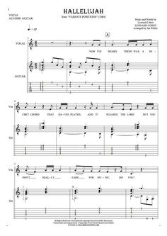 Hallelujah sheet music by Leonard Cohen. From album Various Positions (1984). Part: Notes, tablature and lyrics for solo voice with guitar accompaniment.