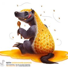 Daily Painting Honeycomb Badger by Piper Thibodeau on ArtStation. Cute Food Drawings, Cute Animal Drawings, Kawaii Drawings, Cool Drawings, Cute Fantasy Creatures, Mythical Creatures Art, Cute Creatures, Wallpaper Gamer, Animal Puns