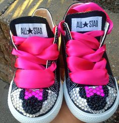 Minnie Mouse Inspired Bling Converse-Pink Minnie Mouse bling shoes-TODDLER SIZE ONLY