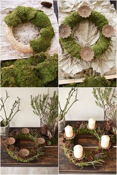 Instructions Advent wreath of moss and cones. Just do it yourself step by step, . Einfach selbermachen Schritt für Sc…, Instructions Advent wreath of moss and cones. Christmas Advent Wreath, Noel Christmas, Christmas Crafts, Christmas Decorations, Holiday Decor, Advent Wreaths, Christmas Stockings, Moss Wreath, Diy Wreath