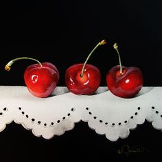 """Cherries on Lace"" 6.5"" x 6.5"" ~ Watercolor on Panel ~ Varnished This piece has been varnished. It ca..."