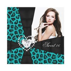 Leopard Teal Blue Sweet 16 Sixteen Birthday Party Personalized Invites Invitations by Zizzago.com