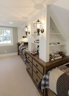 LOVE those lantern lights for this super cute boys bunk room!!!!  <3