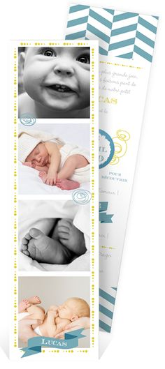 """Faire part naissance à gratter """"petits pieds"""" sous forme de marque page où vous pourrez montrer à vos proches la jolie petite bouille de votre garçon, ref N20119"""