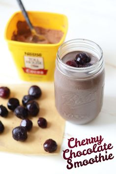 Cherry Chocolate Smoothie // This Cherry Chocolate Smoothie tastes like drinking black forest cake batter, but the best part is that it's entirely healthy! Whip up this vegan, paleo, and grain-free smoothie for a high energy breakfast.