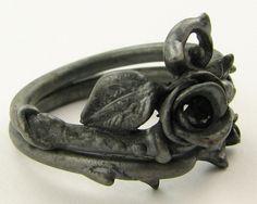 Blackened silver ring, set with .12ct round black diamond. Designed by Sarah J. Christenson