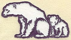 Polar bear with cub applique | Applique Machine Embroidery Design or Pattern