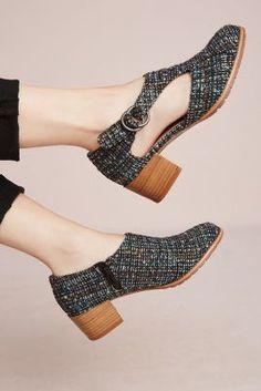 Anthropologie All Black Tweed Cutout Heels