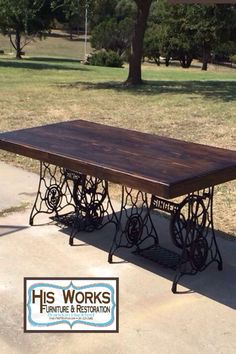 Farmhouse table with antique sewing machine base