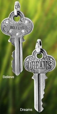 Key to Life Charm at The Animal Rescue Site..etched charms serve to remind: if you believe in yourself, the gateways along the path to your dreams will be unlocked. With a lobster claw closure, the charm can be used as a pendant, on a key chain, or a zipper pull .. windchimes