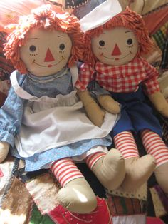 Rare Georgene Transitional Raggedy Ann and Andy with Flowered Legs and Brown Feet via Etsy. $$$$