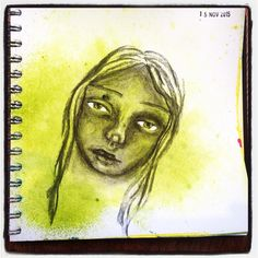 Day 15 #15minsnanojoumo  Trying out charcoal.  #mixedmedia #artjournal #portrait  #whimsical #nanojoumo #irisimpressionsart