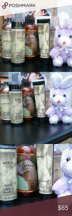Wen Hair Products NWOT Two (2) 16oz. Sweet Almond Mint Cleansing Conditioners, one 7.5 oz. Fall Tuscan Pear Cleansing Conditioner, One Sweet Almond Mint Nourishing Mousse, One Sweet Almond Mint Anti- Frizz Styling Creme and two pump dispensers. All unopened.  NWOT Wen Accessories Hair Accessories
