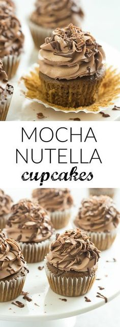 These Mocha Nutella Cupcakes are the perfect way to get your coffee fix! A moist coffee flavored cupcake topped with creamy Nutella frosting!| Posted By: DebbieNet.com