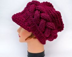Cable Knit Beanie - Women's Newsboy Cap In Merlot - Chunky Hat With Visor - Brimmed Beanie - Knit Accessories
