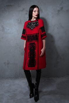 Осінь-Зима 16-17 – Roksolana Bogutska Bd Fashion, Folk Fashion, Ethnic Fashion, Fashion 2017, Fashion Photo, I Love Fashion, Fashion Outfits, Fashion Design, Red Frock