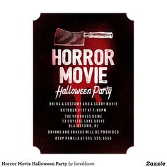 horror movie halloween party card