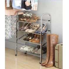 Rolling Shoe Storage Rack 12 Pairs Chrome Organizer Portable Stand Saves Space #Unbranded