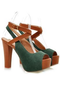 Image of [grls719000024]European Style Peep-toe Green Cross Strap High-heeled Shoes