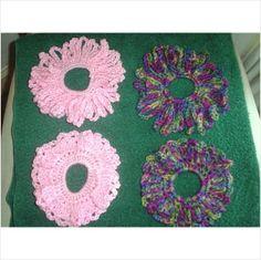 4 Crocheted Hair Scrunchies - Pink, Blue, Purple