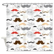 Mustache French Colorful Shower Curtain