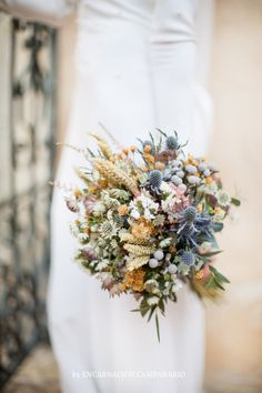 I love the gray balls and the thistles (ignore the wheat) Bridesmaid Flowers, Bride Bouquets, Flower Bouquet Wedding, Floral Bouquets, Boho Wedding, Floral Wedding, Rustic Wedding, Flower Decorations, Wedding Decorations