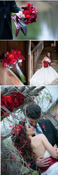 red roses, wedding bouquet, red bow on the dress