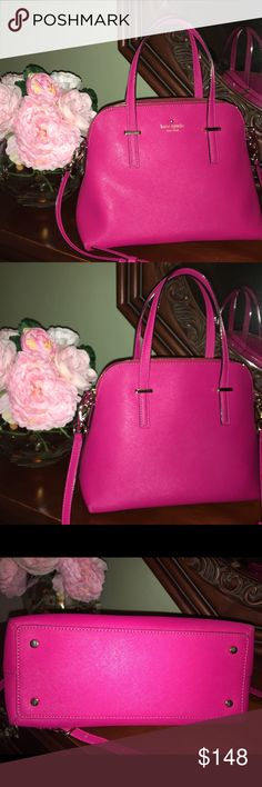 Kate Spade Maise Pink Kate Spade pink maise , saffiano leather , cross body strap , good condition , interior clean with the exception of two marks next to the zipper pocket shown in the pic , there are very light scratches on the gold metal wear and the base of the straps in the back seems to have darkened a little . I think this color is sweetheart pink but I am not 100% sure . Will update Sunday with daylight pics since this were taken with the flash . kate spade Bags Crossbody Bags