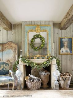 Faded Holiday Decor French Country Christmas Shabby Chic Vintage Rustic