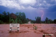Flash flooding at road crossing in Palo Duro Canyon