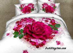 Gorgeous Love of Rose Print Cotton Bedding Set Duvet Cover Double Gift 3d Bedding Sets, Girls Bedding Sets, Bedding Sets Online, Duvet Bedding, Luxury Bedding Sets, Comforter Sets, Modern Bedding, Floral Bedding, White Bedding