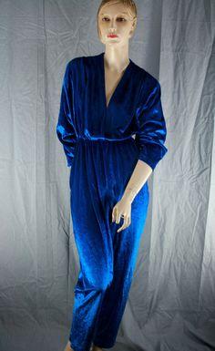 blue velvet jumpsuit deep v 80s by jezterka on Etsy, $38.00