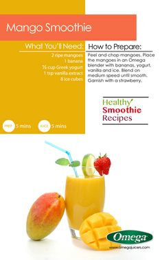 Healthy Smoothie Recipe # 1 with Omega Juicers - Mango Smoothie. http://omegajuicers.com/recipes/recipe/mango-smoothie/